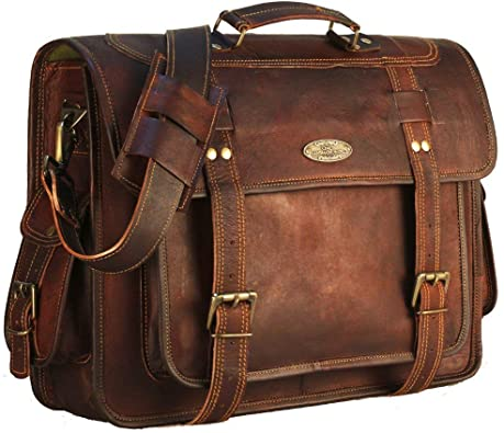 Amazon.com: 18 Inch Leather Messenger Bag briefcases for Men .