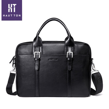 Hautton Hot Selling New Designer Mens Real Top Leather Laptop Bag .