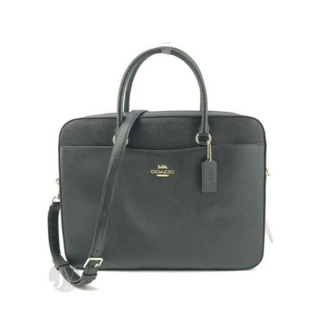 Coach Crossgrain Leather Laptop Bag Black Crossbody F39022 for .