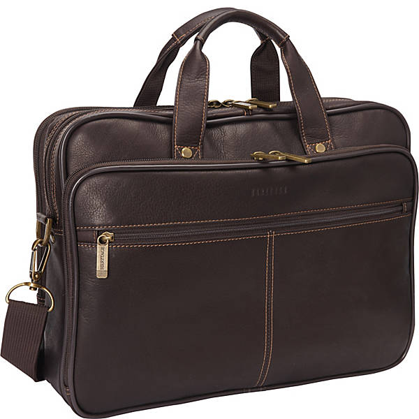 Heritage Colombian Leather Double Compartment Laptop Bag - eBags.c
