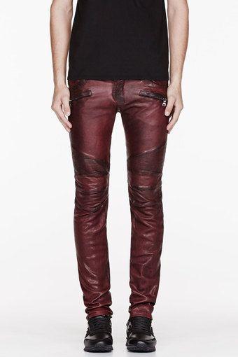 Balmain Burgundy Leather Worn and Reinforced Biker Pants #men .