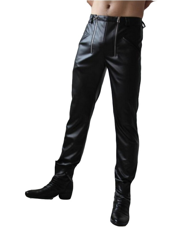Mens Skinny Leather Pants | Black skinny leather pan