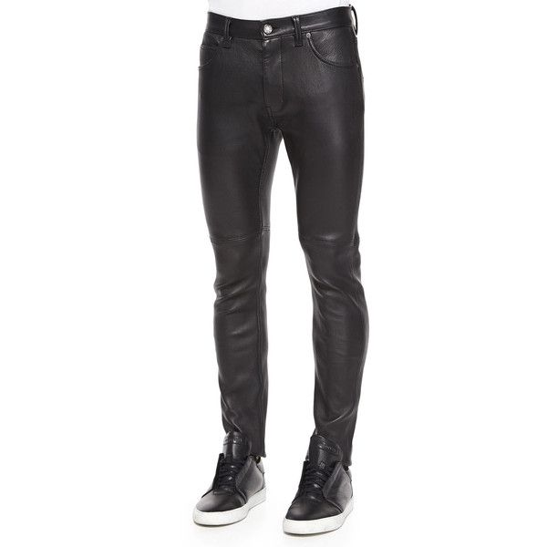 Helmut Lang Stretch-Leather Skinny Pants (1 023 AUD) ❤ liked on .