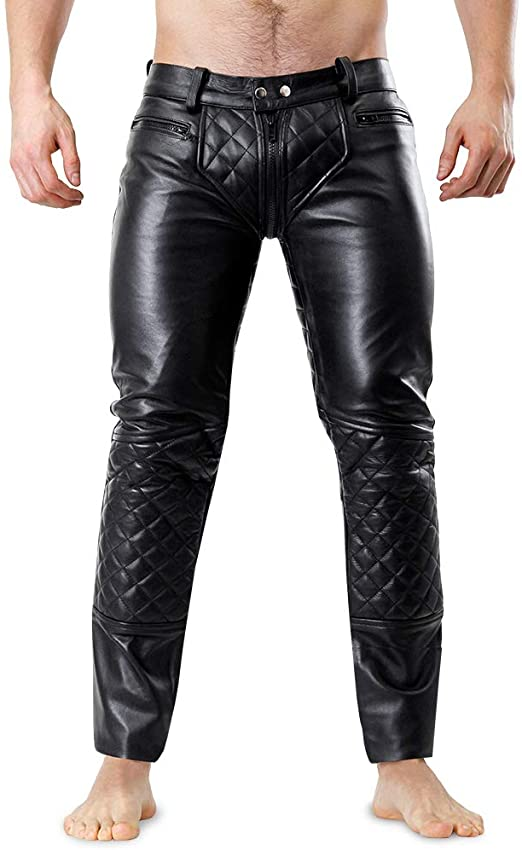 Bockle® 5G-Zip Quilted Mens Black Leather Pants with Trough Zipper .