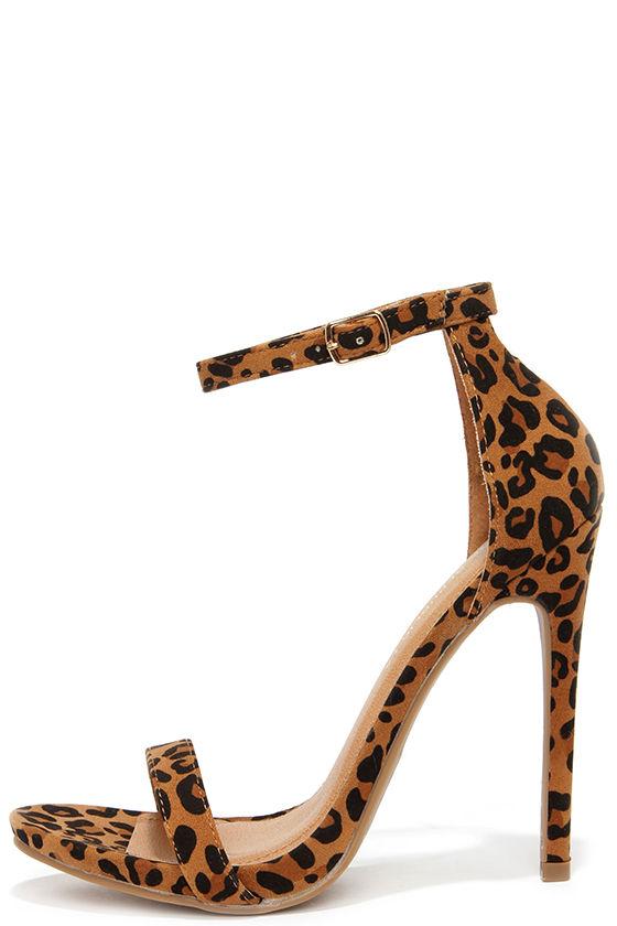 Cute Leopard Heels - Ankle Strap Heels - High Heel Sandals - $34.