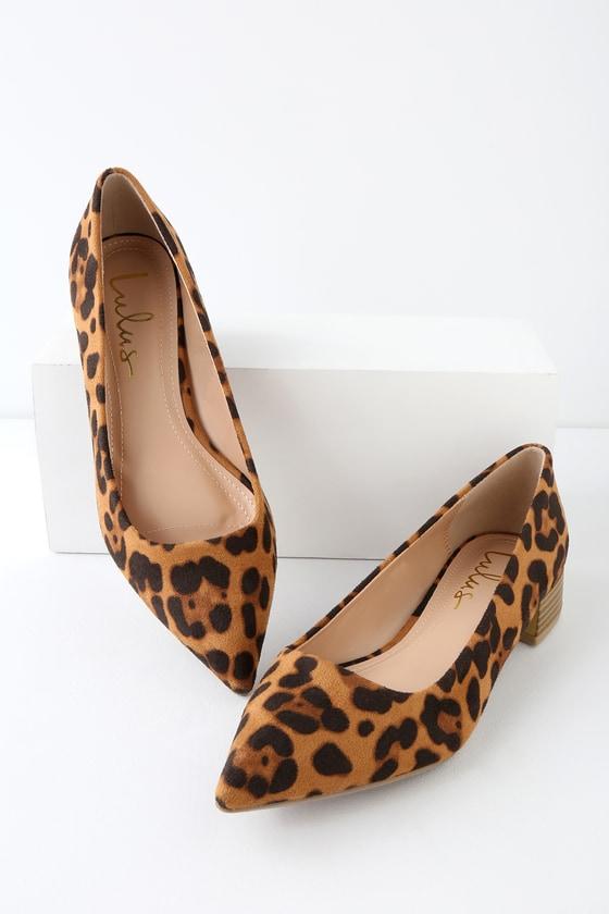 Chic Leopard Suede Low Heesl - Low Pointed-Toe Heel - Low Pum