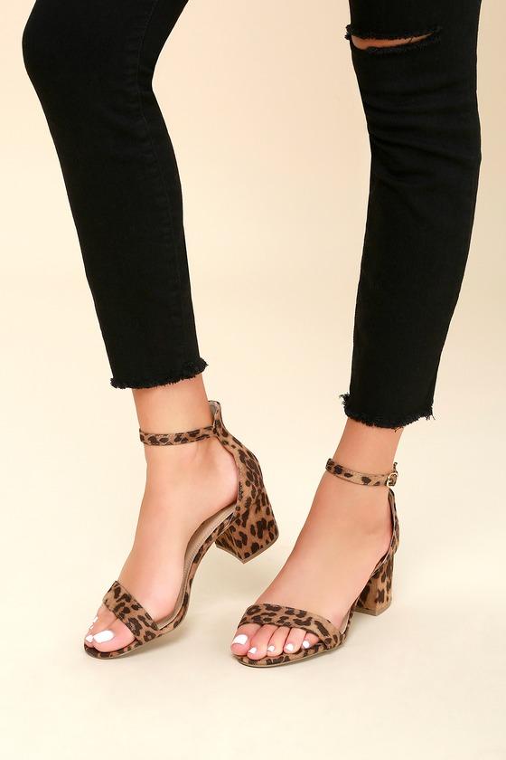 Chic Leopard Sandals - Single Sole Heels - Block Hee