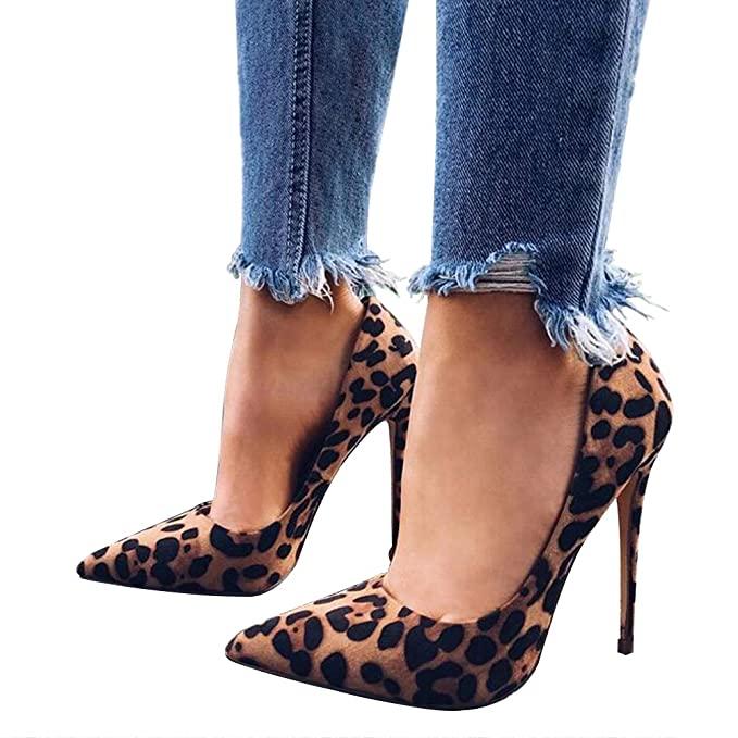 Amazon.com: Women Leopard Print Pumps Slip on Pointed Toe High .