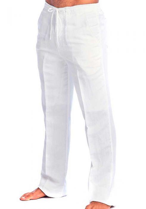 Drawstring Pants for Men. Natural Color. Linen Look. Runs One size .