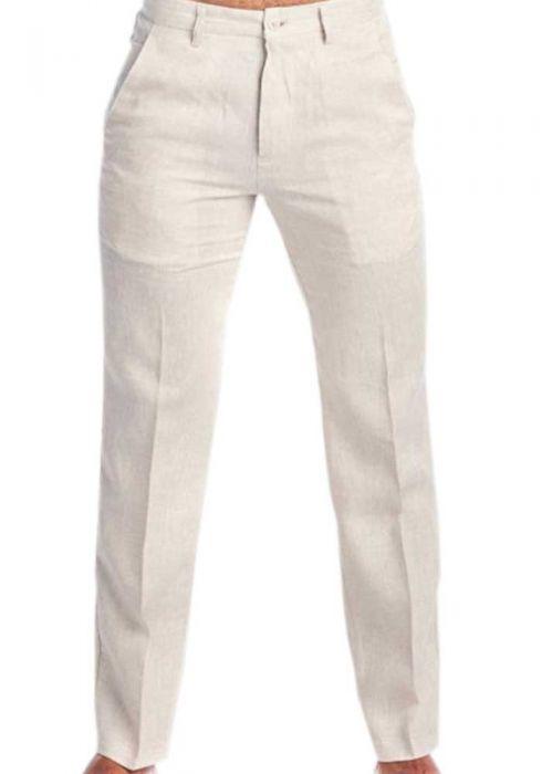 Linen Classic Pants For Men. Linen 100 %. Beige Colo