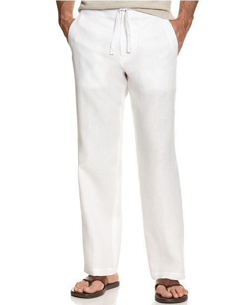 Tasso Elba Men's Drawstring Linen Pants, Created for Macy's .