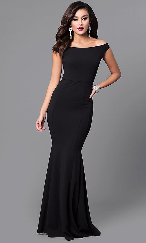 Cheap Mermaid Long Black Off-the-Shoulder Formal Dre