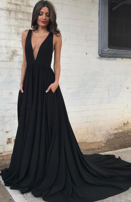 Sexy Deep V Neck Chiffon Black Long Prom Dress With Train Evening .
