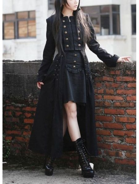 Black Double Breasted Gothic Long Coat for Women   Gothic fashion .