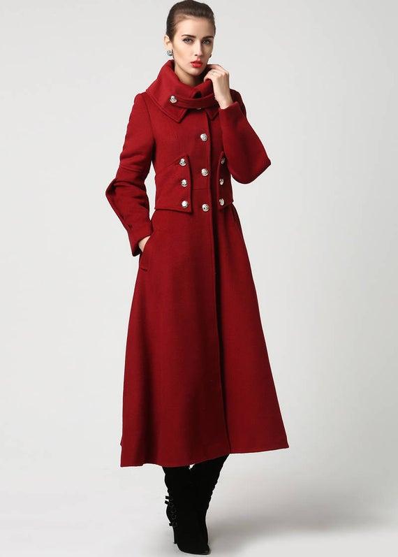 Wool coat winter coat women Red wool coat Long wool coat   Et