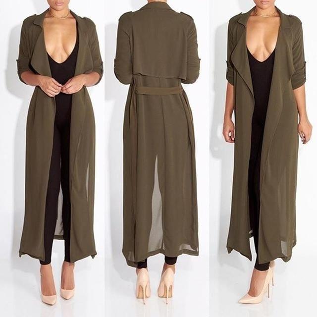 Coat Women Fashion Casual Women's Trench Coat Chiffon Long .