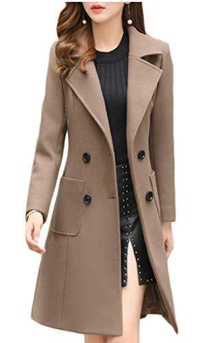 Beloved Women's Elegant Slim Fit Long Jacket Pea Trench Wool Blend .
