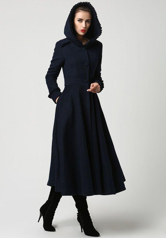 Long wool coat, Womens coats, Navy Blue coat, plus size Coat, Wool .