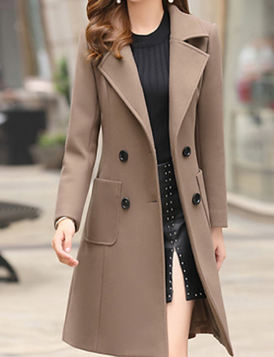 Women's Daily Basic Fall & Winter Long Trench Coat, Solid Colored .