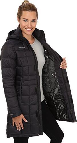 Columbia Women's Hexbreaker Long Down Jacket, Black, Medi