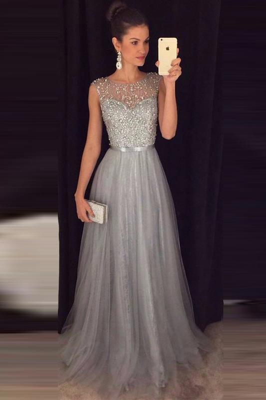 Cheap A-line Gray Sleeveless Tulle Beaded Long Formal Dress,Prom .