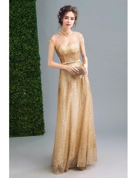 Bling-bling Modest Gold Prom Formal Dress Long For Women #AGP18132 .