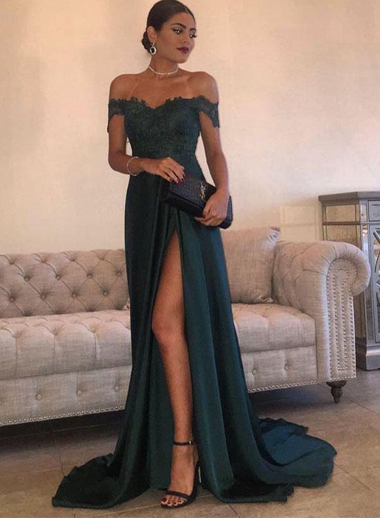 Green A line lace off shoulder long prom dress, formal dress – trend