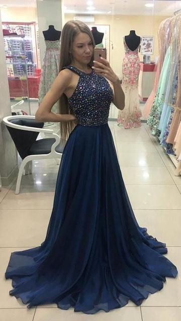 Beaded Top Long Prom Dress Semi Formal Dresses | DRE