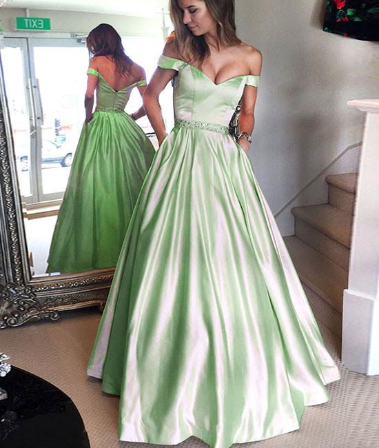 Cute off shoulder long prom dress, long formal dress – shdre