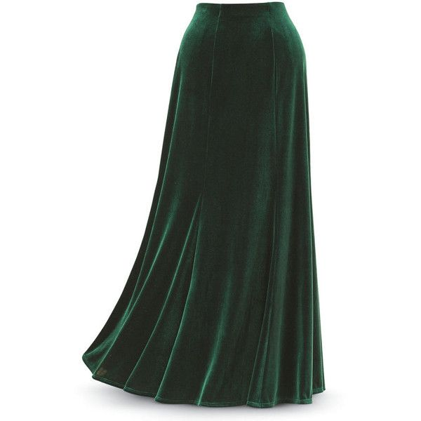 Green Velvet Skirt Size 2X ($80) ❤ liked on Polyvore featuring .