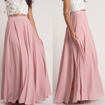 Latest Design High Waist Plain Pink Maxi Long Skirt - Buy .