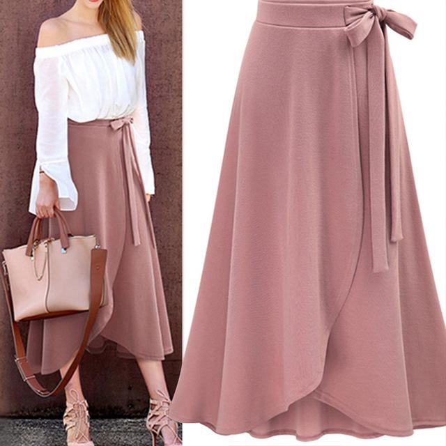 Chiffon Pink Ruffle Women's Long Skirt High Waist Bowtie Split .