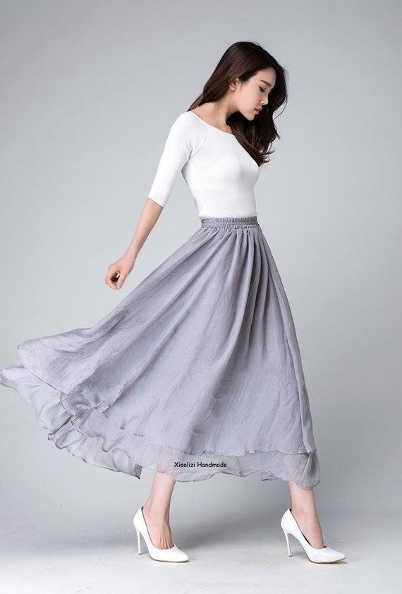 Chiffon maxi skirt long skirts for women grey skirt high | Et