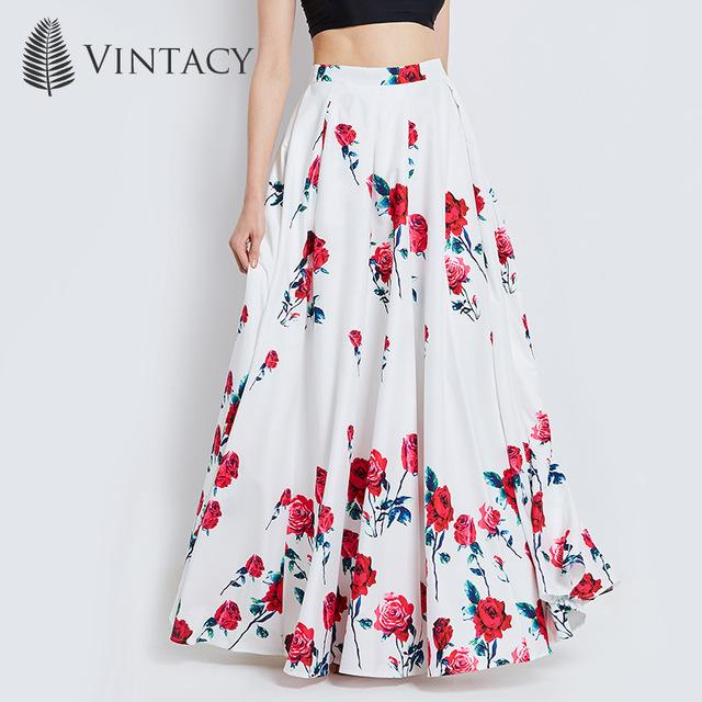 Long Skirts Women White Print Floral Red Rose Pleated Maxi Skirts .