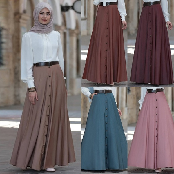 S-5XL Women Fashion Plus Size Casual Pleated Skirt Pure Color Long .