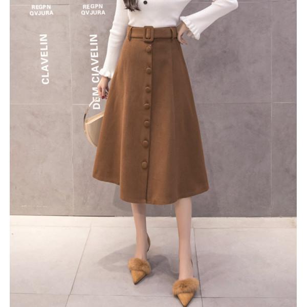 New Women Fashion Korean Long Skirts Casual A-Line Vintage Butt