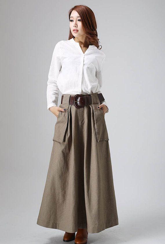 brown maxi skirt, linen skirt, long skirt, A line skirt, fall .