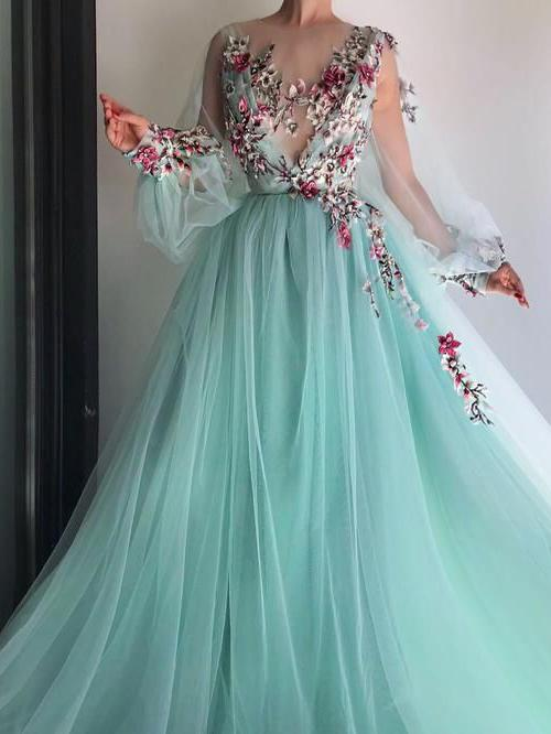 Flower Long Sleeve Prom Dress Cheap Lace Long Prom Dress #ER2