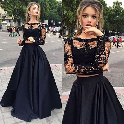 Formal Dress | Two pieces long prom dress,A-line long sleeve prom .
