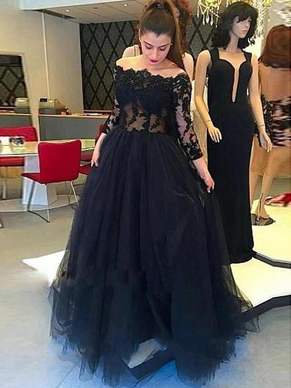 Off The Shoulder Black Prom Dress Plus Size Long Sleeve Prom Dress .