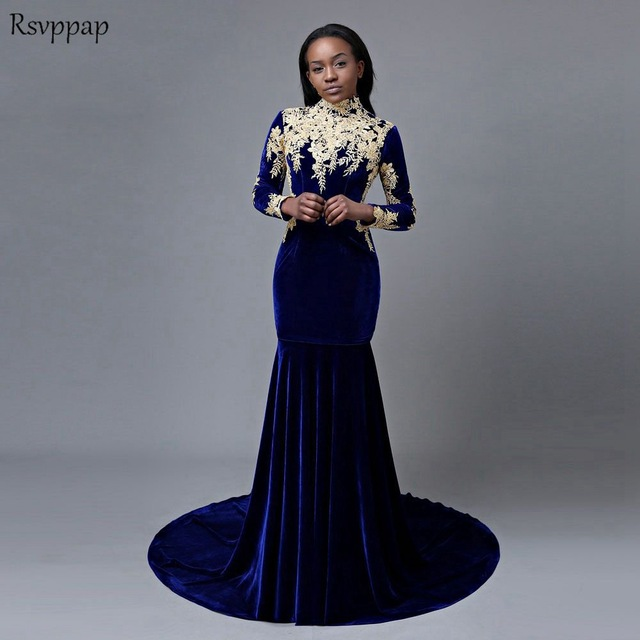 Long Prom Dresses 2020 Sexy Mermaid High Neck Long Sleeve Gold .