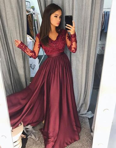 Formal Dress | Burgundy long sleeve lace prom dress, lace evening .