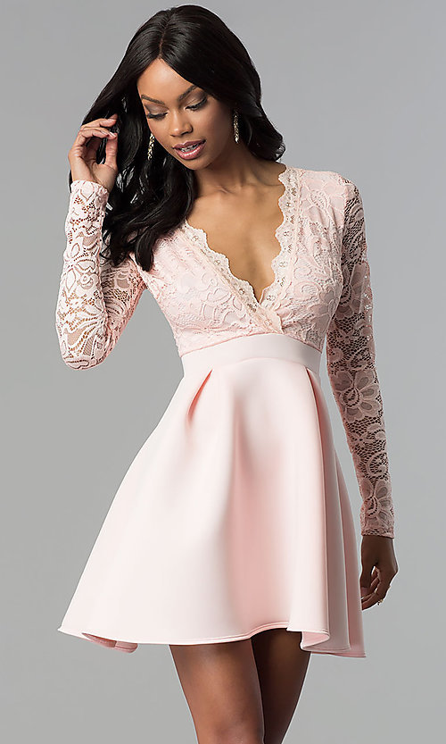 Open-Back Lace-Bodice Long-Sleeved Short Party Dre