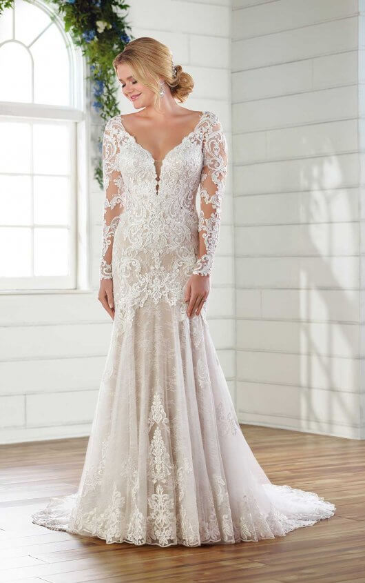 Long-Sleeved Lace Wedding Dress with Open Back