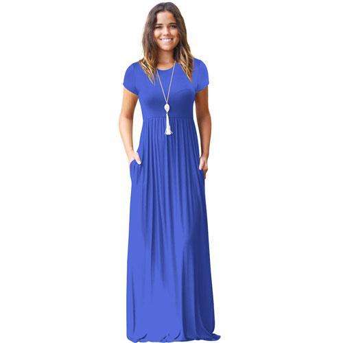Casual Long Summer Dresses For Women Short Sleeve Pocket Floor Leng