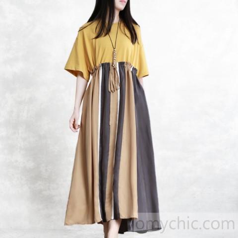 Elegant yellow cotton quilting dresses o neck patchwork drawstring .