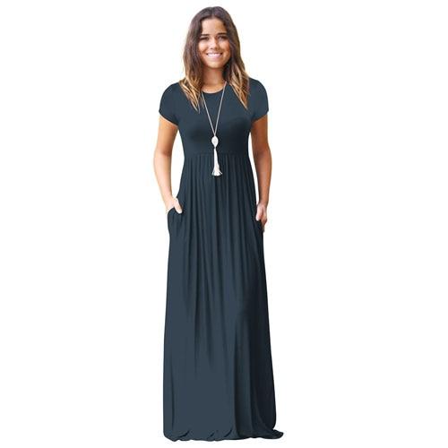 Casual Long Summer Dresses For Women 2019 Short Sleeve Pocket .