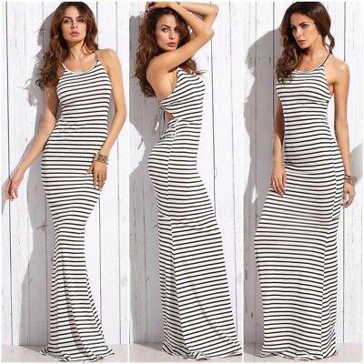 Sexy Long Summer Dresses Women Striped Casual Ladies Spaghetti .