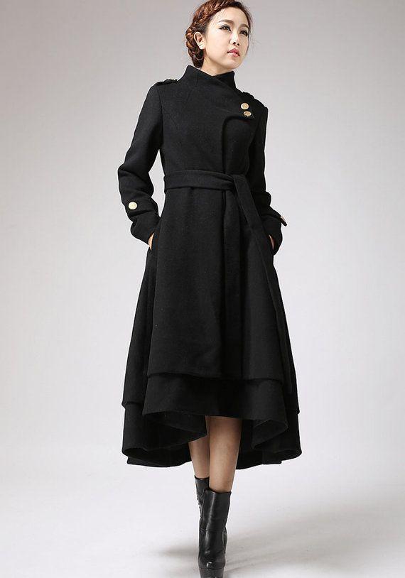 Wool coat women, black coat, long wool coat, winter coat women .