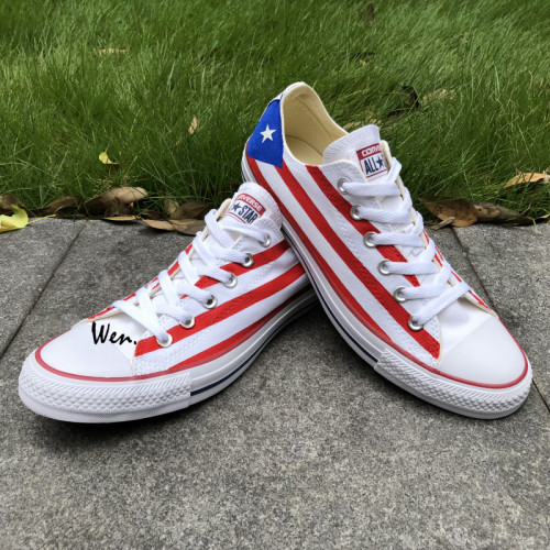 Low Top Converse Shoes Puerto Rico Flag Hand Painted Canvas Shoes .